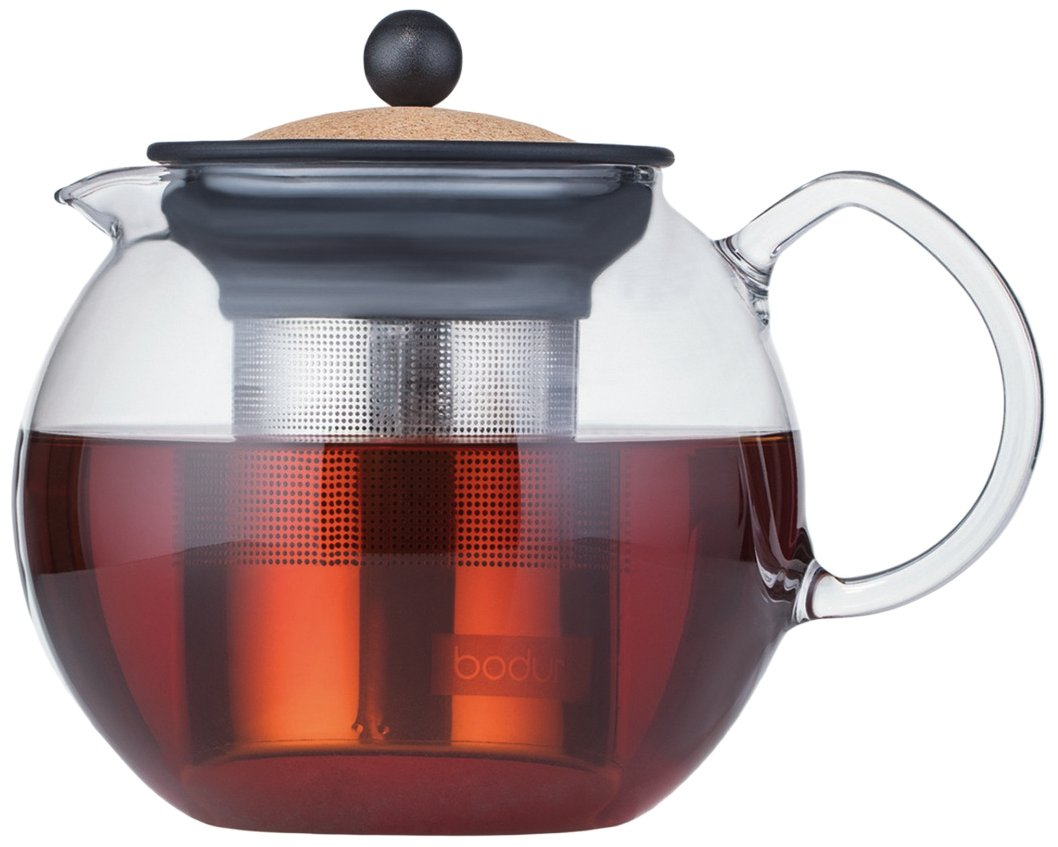 BODUM 1801-109s Piston, Stainless Steel Filter Teapot, 1.0 L, Transparent, Glass, Cork, 15 cm