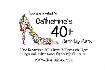 50 Personalisierte Einladungskarten Geburtstag. U0027Schuheu0027 18th 21st 30th  40th 50th 60th Jeden Alters