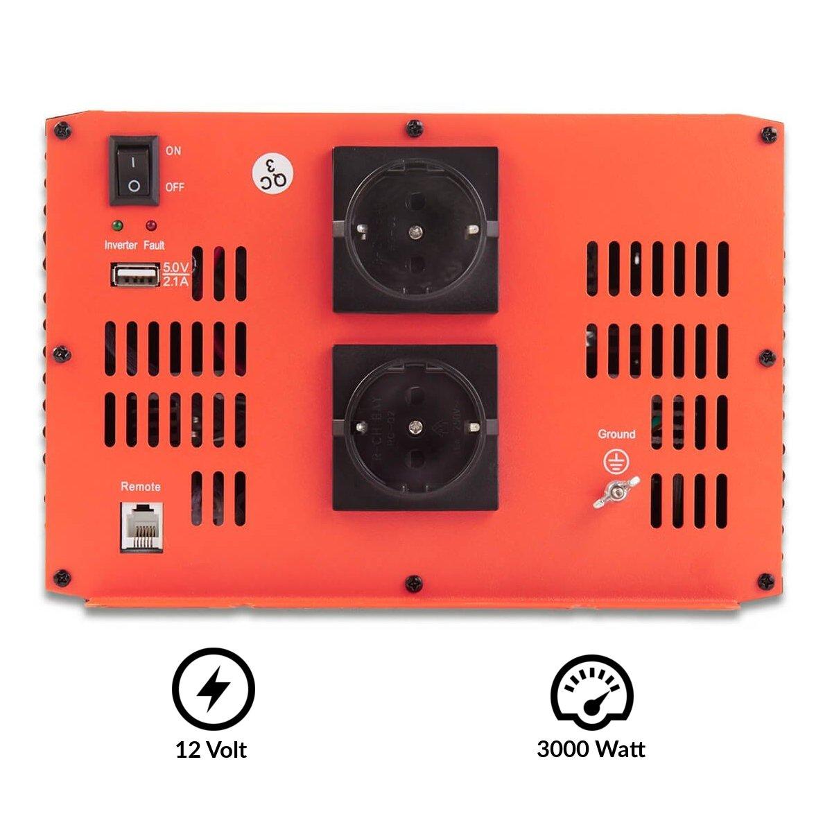 ECTIVE Serie SI caz | Inversor de onda sinusoidal 12V a 230V | 3000W | Los transformadores de tensión, transformadores de corriente, convertidor de energía, ...