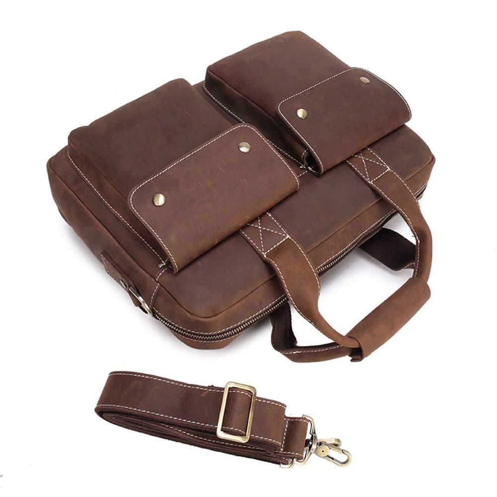 メンズヴィンテージトートショルダークロスボディバッグ、レザービジネスブリーフケース14インチラップトップバッグ、キャリングラゲッジバッグ(パフェ) (Color : Brown, Size : M) B07RQP124Y Brown Medium