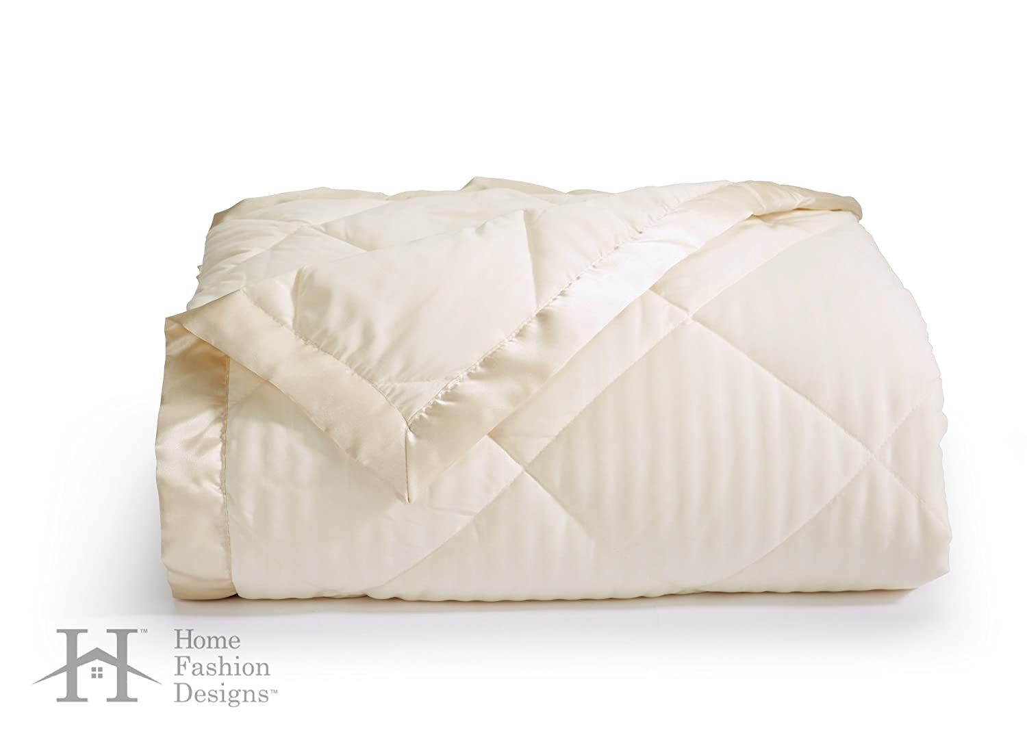 amazoncom romana collection luxury goose down alternative quilted blanket by home fashion designs brand fullqueen ivory home kitchen