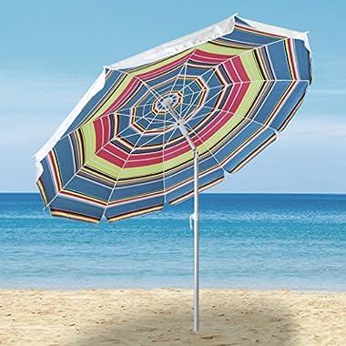 Ammsun 2016 10 Panels Silver Coating Sand Anchor Heavy Duty Beach Umbrella with Tilt, Multicolor-2