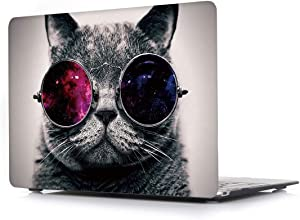 Hard Case for MacBook Air New 13.3 Inch 2018 with Touch ID Model A1932 - L2W Laptop Computers Accessories Plastic Smooth Print Protective Creative Design Cover,Glasses Cat