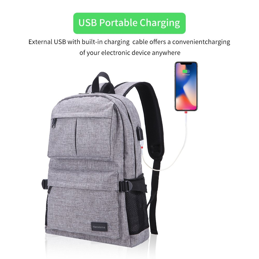 Hanxiema Travel Laptop Backpack Fit 15.6 Inch Laptop or Macbook Oxford Cloth with USB Charging Port Large Capacity School Computer Bag for Men Women (Grey HXm-02-1) by Hanxiema (Image #2)