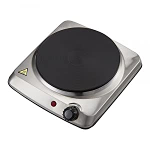 Courant Electric Hotplate, Countertop Burner, Single Buffet Electric 1000W Portable Cooktop, stainless Steel