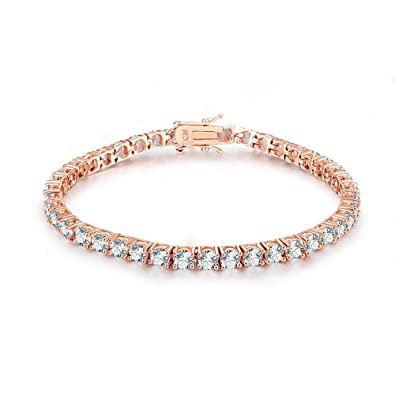 Amazoncom NYC Sterling Women 3MM Round Cubic Zirconia Rose Gold