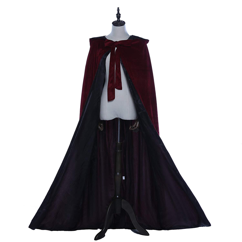 Portsvy Burgundy Velvet Renaissance Medieval Cloak Cape Lined Satin