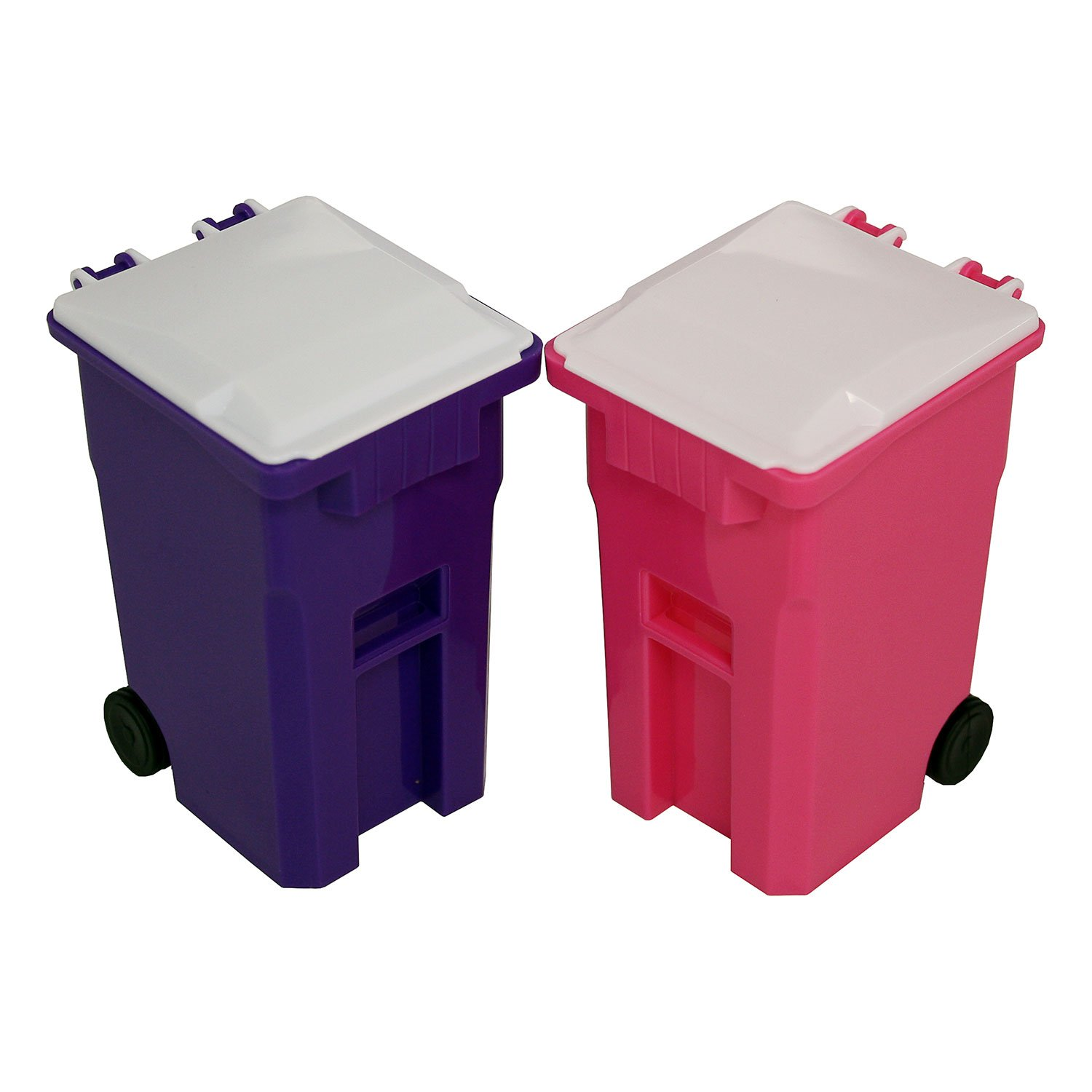 Thornton's Office Supplies Mini Curbside Wrestling Toy Garbage Trash Can and Recycle Can Set Office Desk Pencil Cup Holder (Pink/Purple)