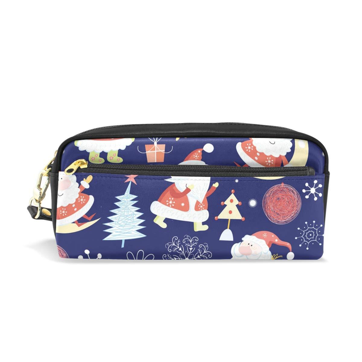Estuche escolar de Papá Noel, color azul azul azul oscuro, para niños, gran capacidad, bolsa de maquillaje, cosméticos, oficina, bolsa de viaje 477e34