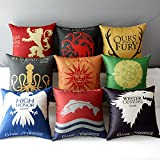 TavasDecor 17'' Square Game of Thrones Cotton Linen Home Decorative Throw Pillow Case Cushion Cover - Bundle 9 Pieces One Set
