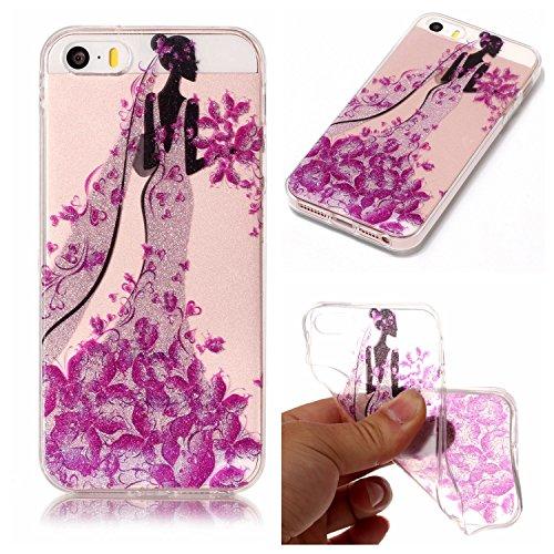 Custodia iPhone 5 5S SE , LH Principessa TPU Trasparente Silicone Cristallo Morbido Case Cover Custodie per Apple iPhone 5 5S SE
