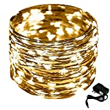 CrazyFire 33ft 10m Copper Starry String Light - 100 LED Indoor Fairy Rope Light Flexible DIY Decorative Light with DC Power Adapter for Christmas Halloween Party Wedding Bedroom Decor-Warm White Light