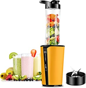Bullet Blender, Smoothies Blender for Milkshakes, Protein Shakes, Fruit and Vegetable Juice, Small Single Serve Personal Bullet Mixer with 20oz Travel Bottle, 300W (Yellow)