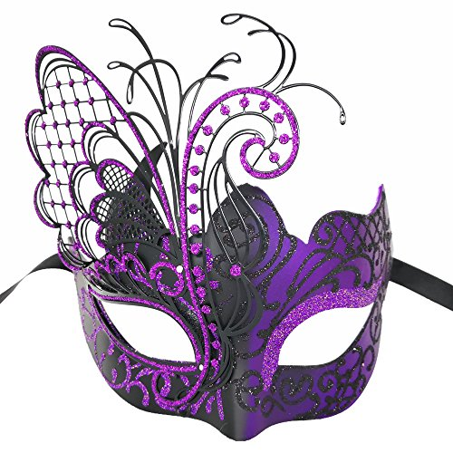 - CCUFO Masquerade Venetian Luxury Face Mask for Women Metal Sparkling Butterfly | Party, Ballroom, Fancy Prom, Mardi Gras, Wedding, Wall Decoration (Purple/Black Butterfly)