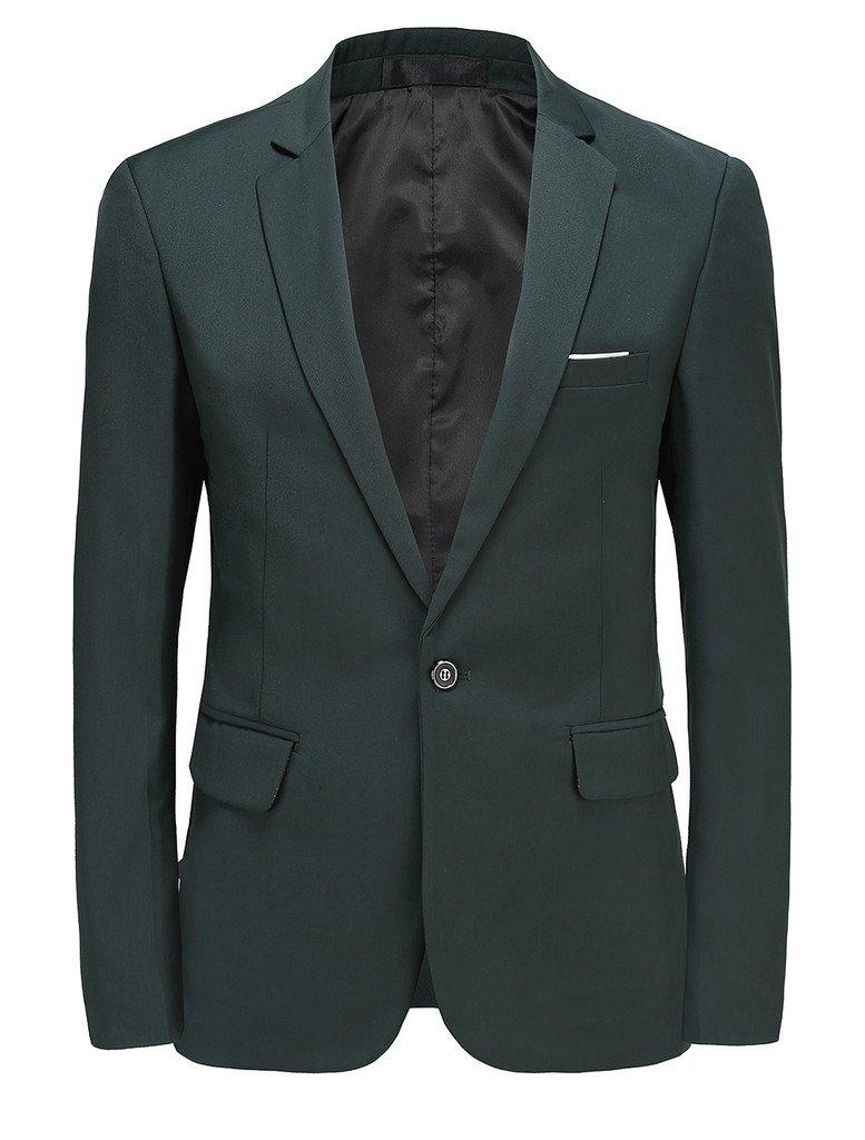 MOGU Mens Slim Fit One Button Casual Blazer Jacket US Size 38 (Label Asian Size 3XL) DarkGreen