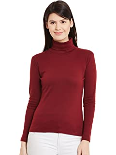 7eebdffa58b049 Hypernation Red Color High Neck T-Shirts for Women: Amazon.in ...