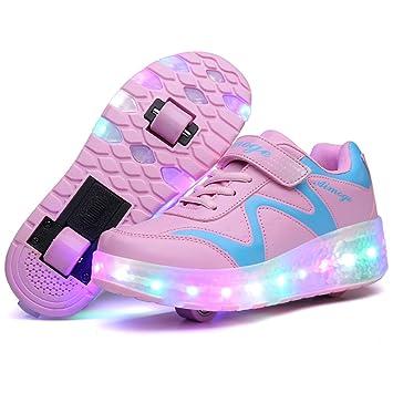 Zapatillas de deporte infantiles con luces LED y ruedas, color Two/Wheels -Pink, tamaño US 3=EU 34: Amazon.es: Deportes y aire libre