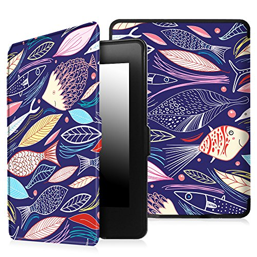 Fish 2013 - Fintie Case for Kindle Paperwhite - Premium Thinnest and Lightest PU Leather Cover Auto Sleep / Wake for All-New Amazon Kindle Paperwhite (Fits All 2012, 2013, 2015 and 2016 Versions), Midnight Fish