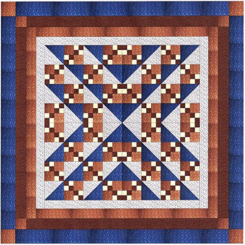 Easy Quilt Kit Beautiful Blues and Browns/Queen by Galaxy/RJR