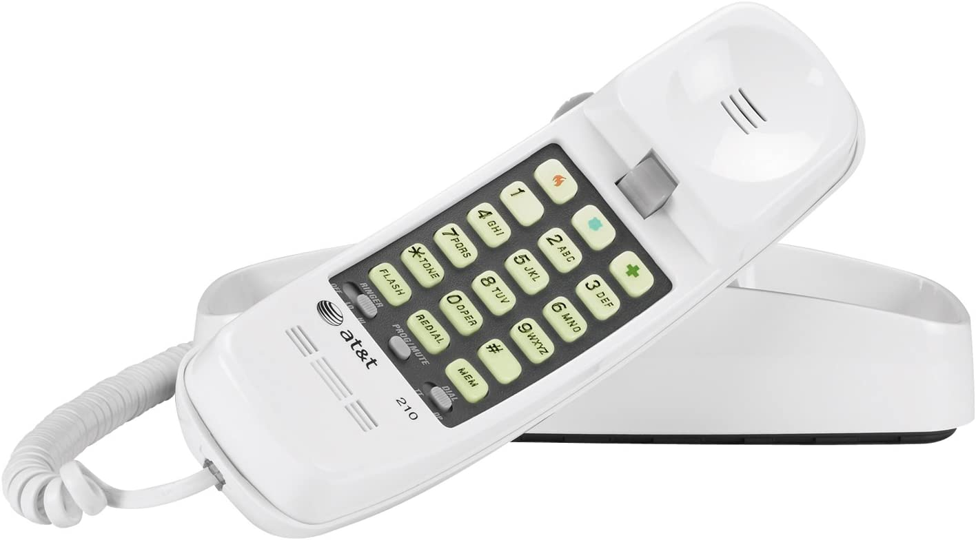 Advanced American Telephones 210WH AT&T 210M Basic Trimline Corded Phone, No AC Power Required, Wall-Mountable, White : Corded Telephones : Office Products
