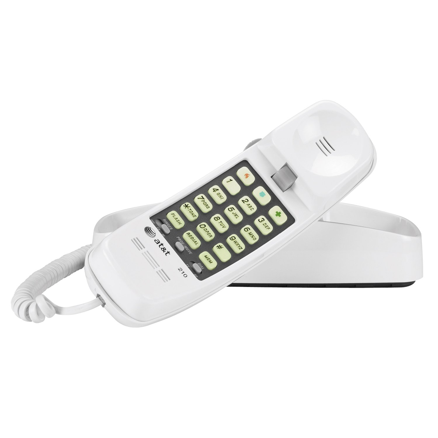 AT&T 210 Basic Trimline Corded Phone, No AC Power Required, Wall-Mountable, White
