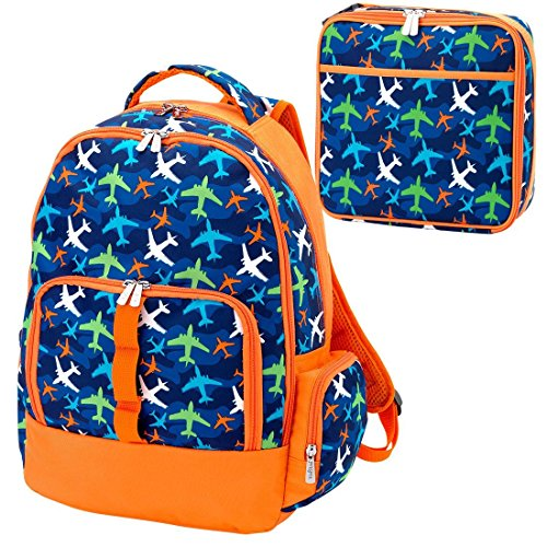 Take Flight Airplanes Blue Orange 2 Piece Polyester Zippered Backpack & Lunch Box Bag Set ()