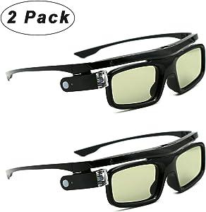 3D Glasses, Active Shutter Rechargeable Eyewear for 3D DLP-Link Projectors Cocar Toumei - Pack of 2