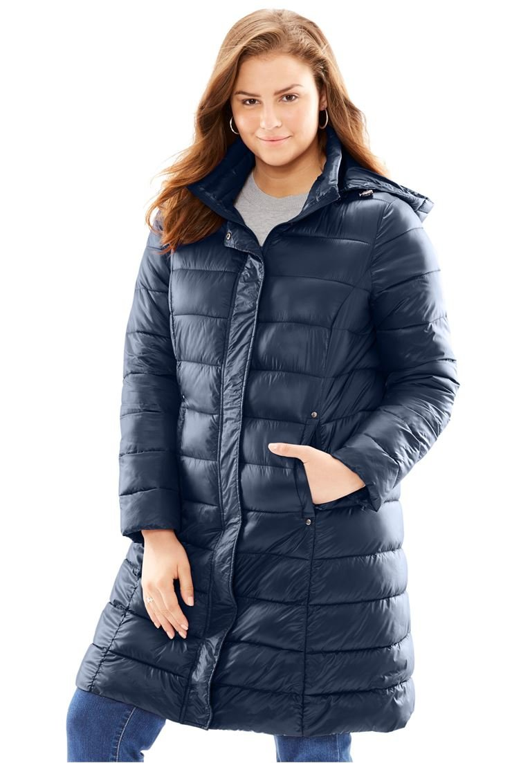 Woman Within Women's Plus Size Packable Long Puffer Jacket
