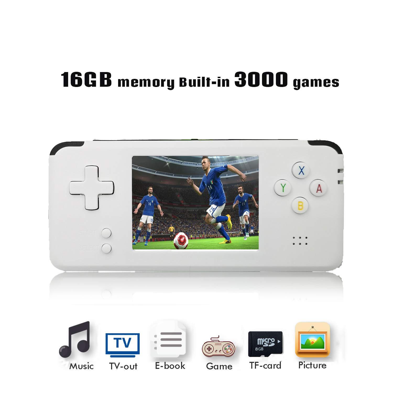 Anbernic Handheld Game Console, Retro Game Console 16 GB 3000 Classic Games Player, Portable Video Game Console Support GBA / NES / SFC / SEGA / NEOGEO, Birthday Presents for Children - White