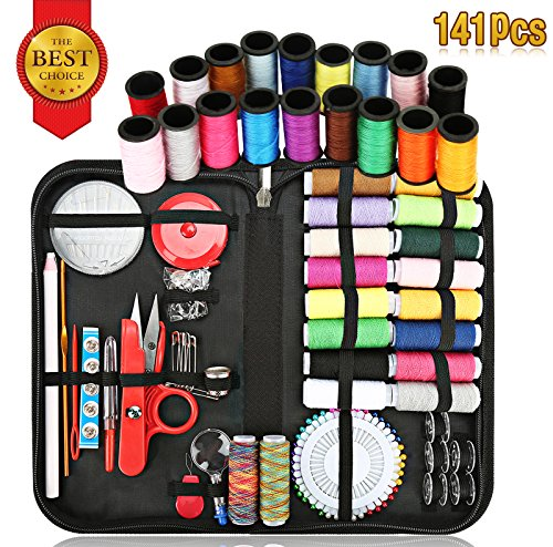 Sewing Kit, Sewing Supplies Kit for All Sewing Purpose with Total 136 Premium Sewing Supplies-Enhanced Sewing Needles & Assorted Color Threads, Suit for Travel & Home Sewing Accessories