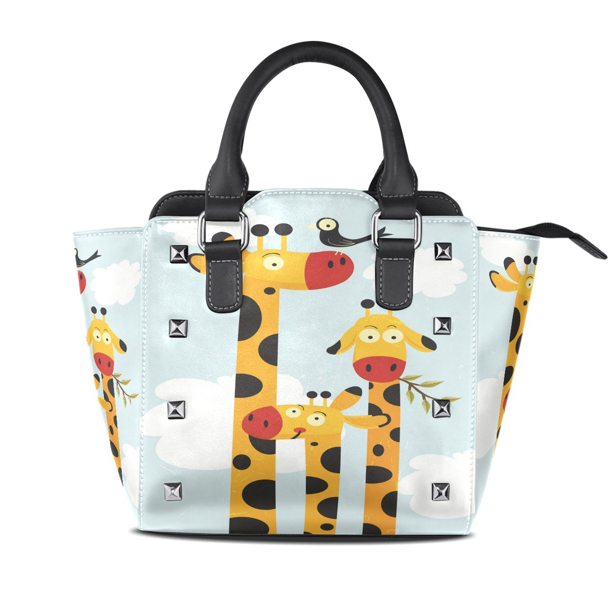 Womens Genuine Leather Hangbags Tote Bags Family Giraffes Purse Shoulder Bags