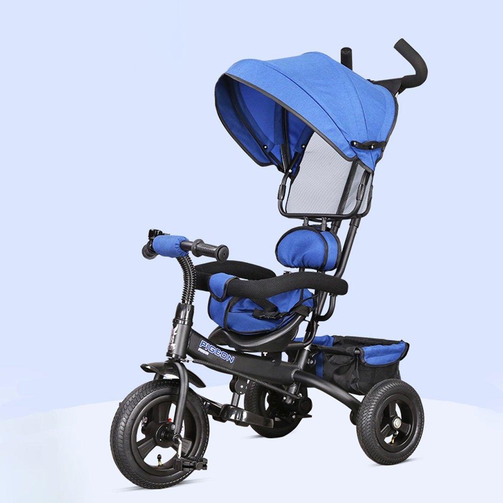 Fenfen Triciclo para niños 1-5 años Bebé/niños Bicicleta Cochecito para bebés, Rojo/morado/azul, 75 * 50 * 103cm (Color : Blue): Amazon.es: Hogar