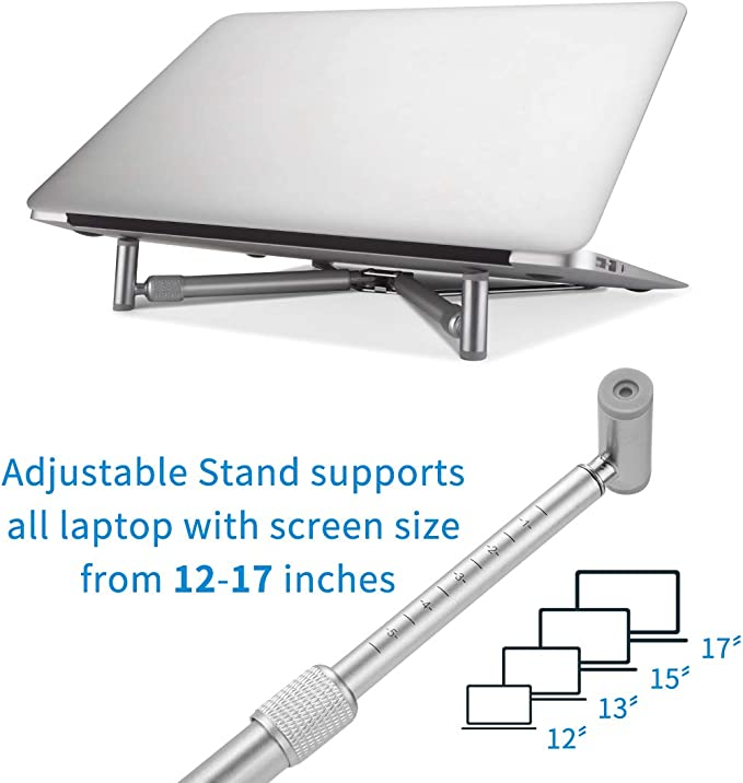 Laptop Riser for PC Cooling Heat Elimination Adjustable X-Stand Folding Aluminum Stand Support Compatible with MacBook Dream-C Portable Laptop Support Stand Notebooks 12-17 Screen Silver