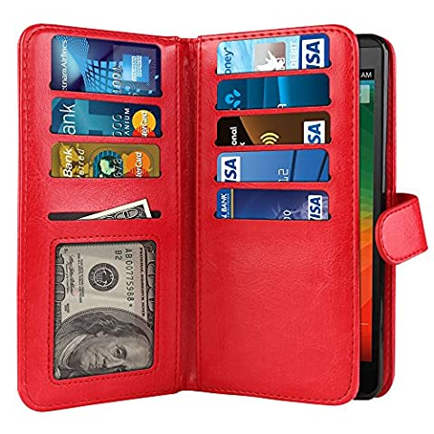 NextKin Case For ZTE ZMAX Z970, Premium PU Leather Dual Wallet Folio TPU Silicone Cover, 2 Large inner Pockets Double flap Privacy, 9 Card Slots Holder Snap Button - (Zte Zmax Phone Case Z970)