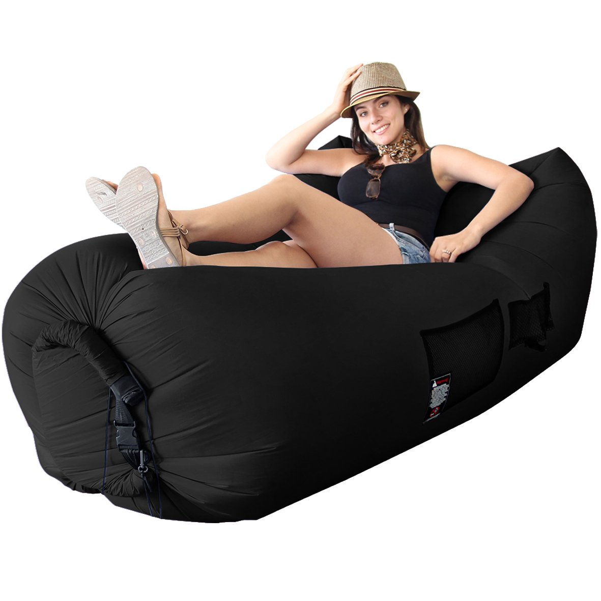 Best Selling Woohoo 3.0 Giant Outdoor Inflatable Lounger with Carry Bag – Air Lounger – エアソファ – Patent Pending – 簡単に凸レンズ新しいテクノロジー B072KPX44C ブラック ブラック