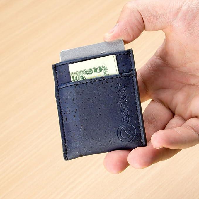 2329cf185cf08 CORKOR Geldbörse Minimalistische Schlank Brieftasche Herren Leichtes Natur-Leder  Kreditkarten Natur Veganer Korkleder Blau  Amazon.de  Koffer