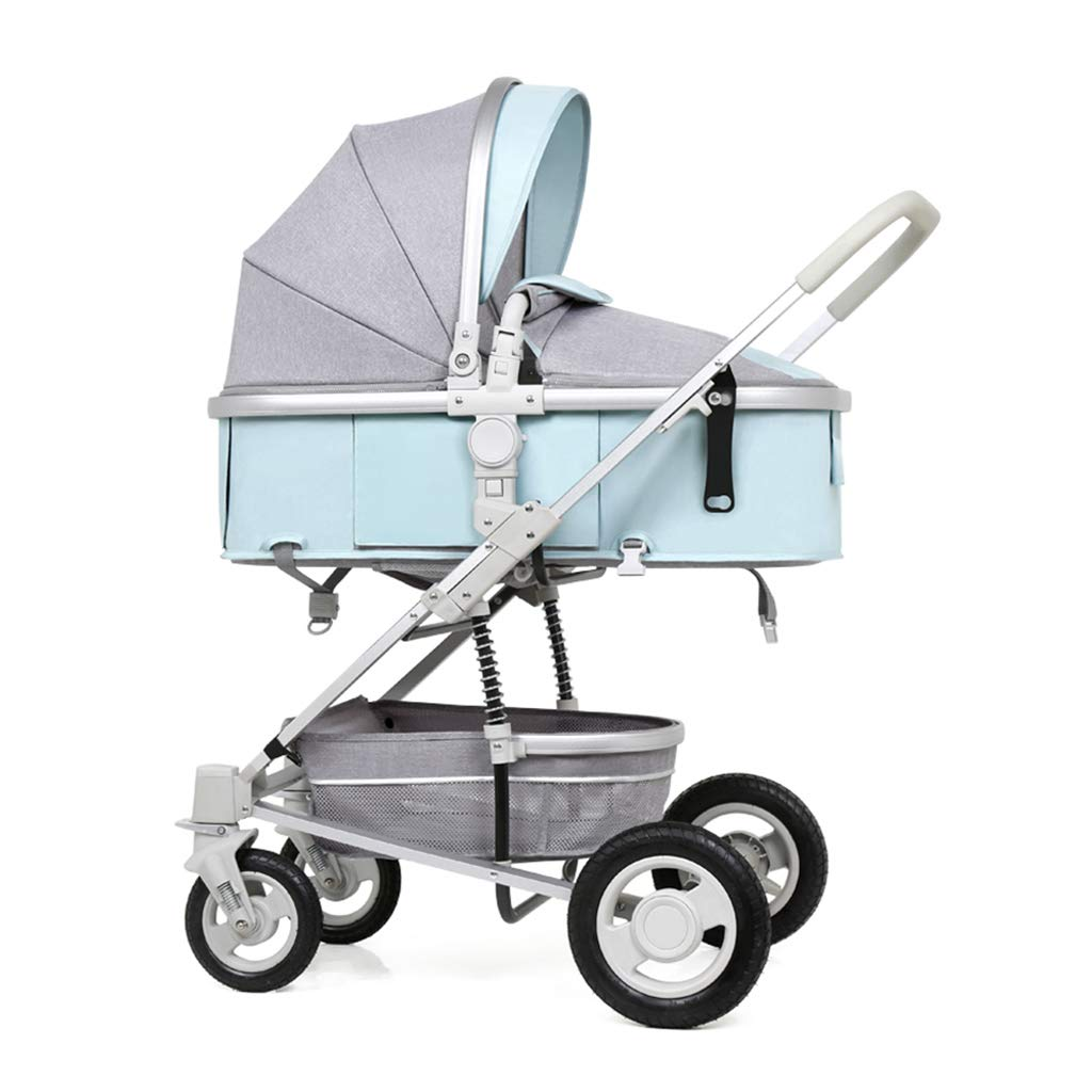 Strollers Accessories Baby Foldable Two-Way Shock Baby Baby with Storage Basket (Color : Blue, Size : 76x63x100cm)