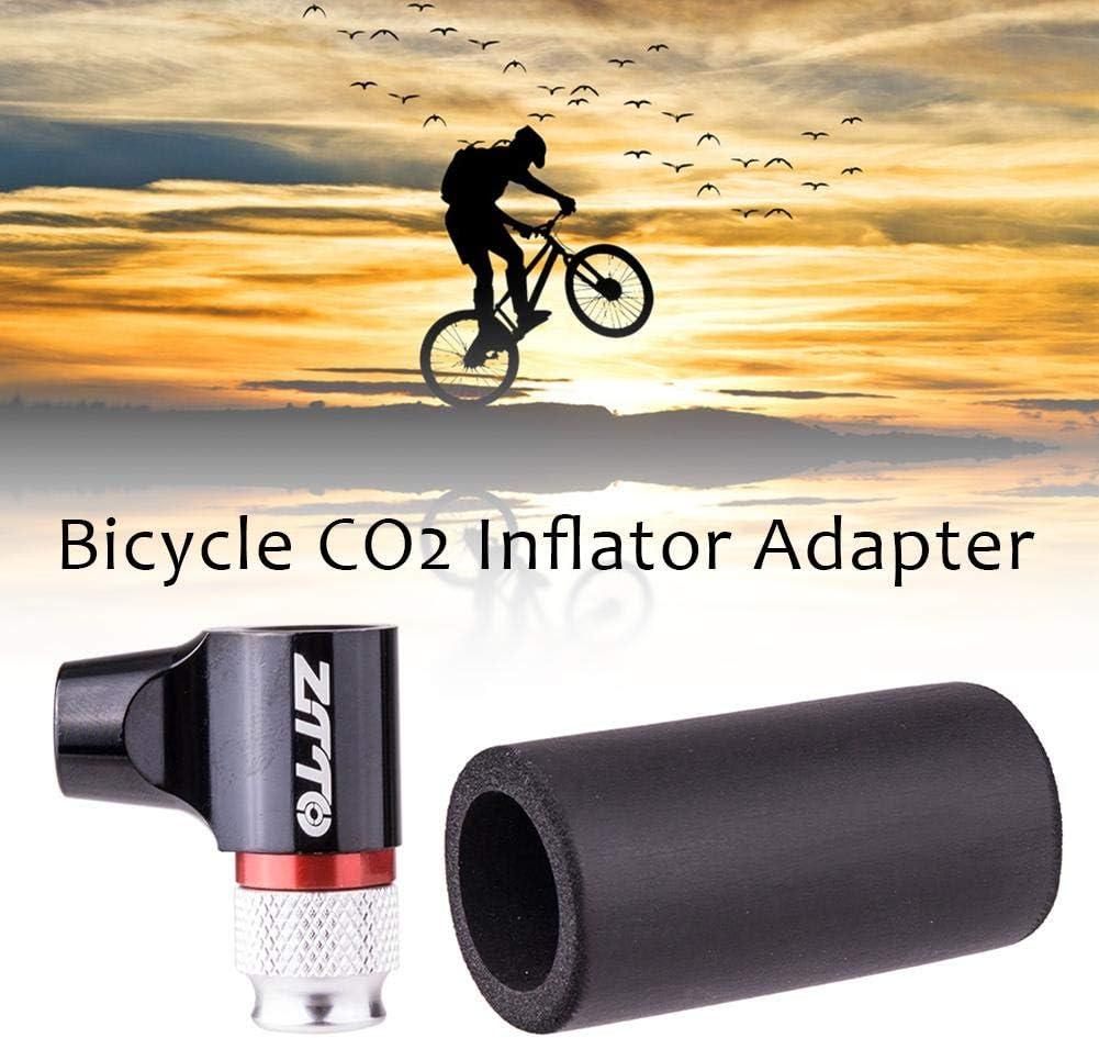 Waysad CO2 inflador de neumáticos de bicicleta, adaptador de bomba de neumáticos de bicicleta rápido y fácil con funda aislante para bicicletas de carretera y montaña, válvula Presta y Schrader, compatible con