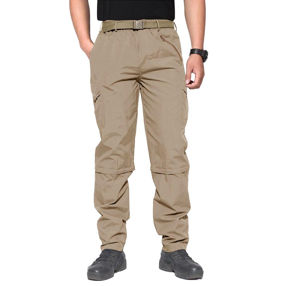 BIYLACLESEN Mens Outdoor Quick Dry Hiking Camping Pants Convertible Cargo Shorts