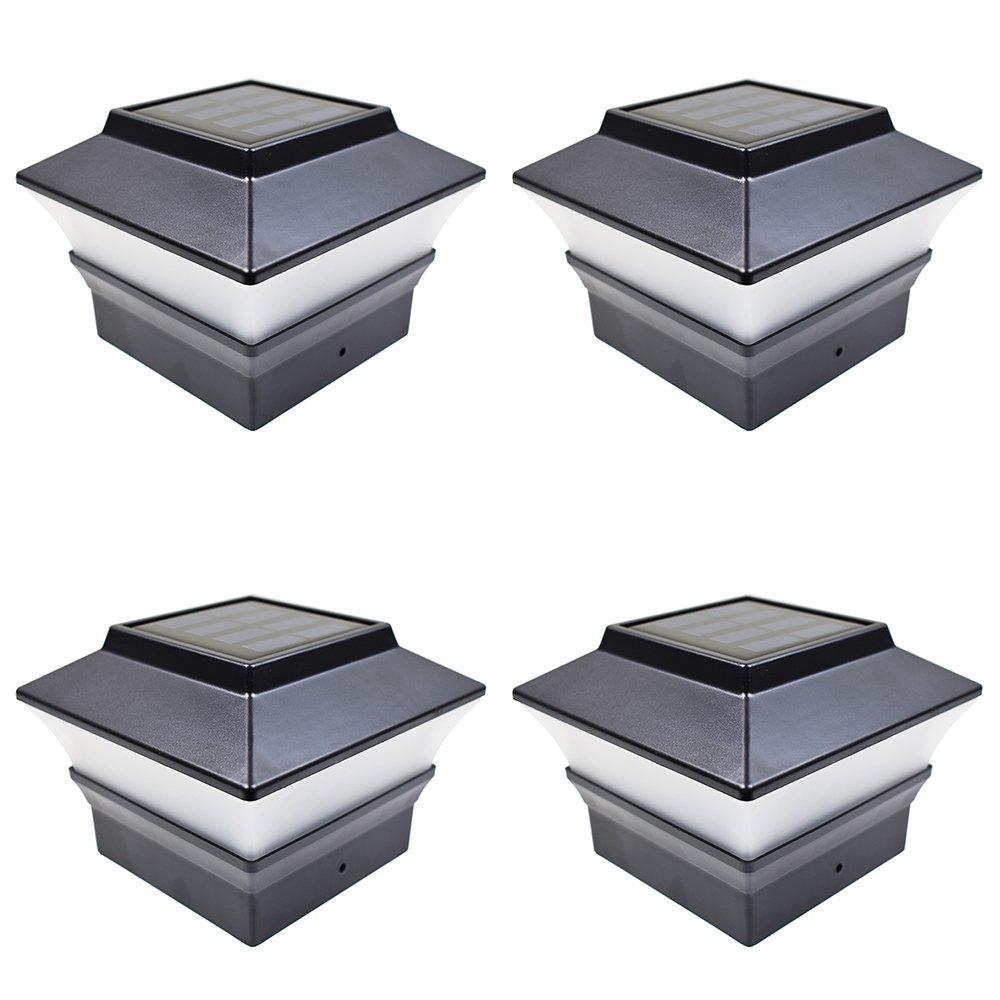 iGlow 4 Pack Black Outdoor Garden 4 x 4 Solar LED Post Deck Cap Square Fence Light Landscape Lamp Lawn PVC Vinyl Plastic