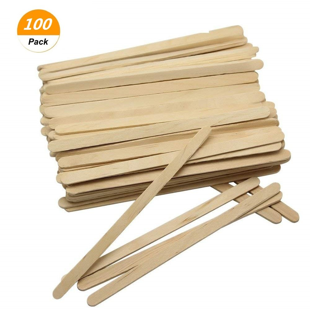 SelfTek 100Pcs Wooden Wax Applicator Spatulas Sticks Hair Removal Stick