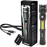 Nebo 6434 Slyde King 330 Lumen USB rechargeable LED flashlight/Worklight, rechargeable Li-ion battery with EdisonBright USB charger bundle