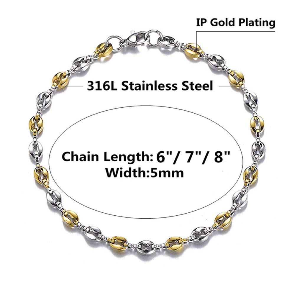 AMGJ Unisex Stainless Steel Mariner Link Bracelets Coffee Bean Chain Bracelet Length 6//7//8//9 inch