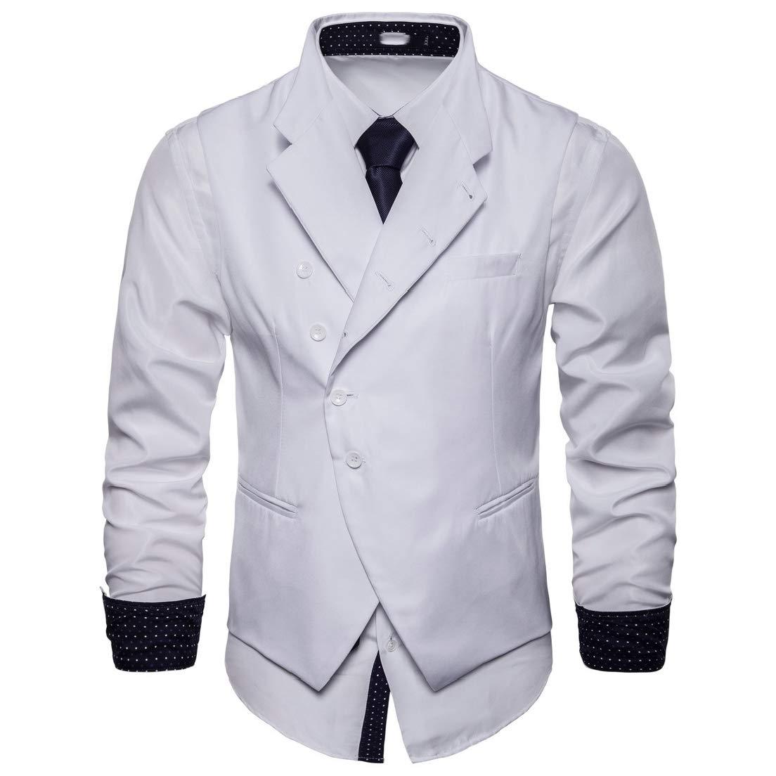 Vska Men Court Style Solid Colored Britain Plus Size Vest Jacket