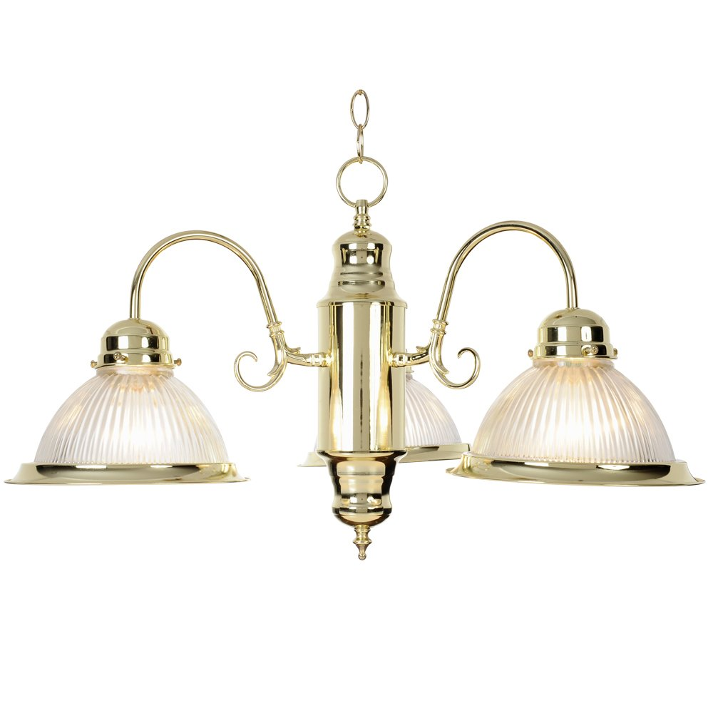 Monument 671694 Halophane Glass Chandelier, Polished Brass, 19 X 13 In.