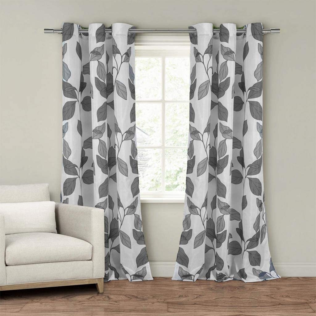 Duck River Textiles - Karine Faux Sil Floral Leaf Grommet Top Window Curtains for Living Room & Bedroom - Assorted Colors - Set of 2 Panels (55 X 84 Inch - Grey)