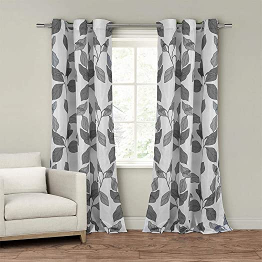 Duck River Textiles – Home Fashion Faux Sil Floral Leaf Grommet Top Window Curtains for Living Room Bedroom – Assorted Colors – Set of 2 Panels 55 X 84 Inch – Grey