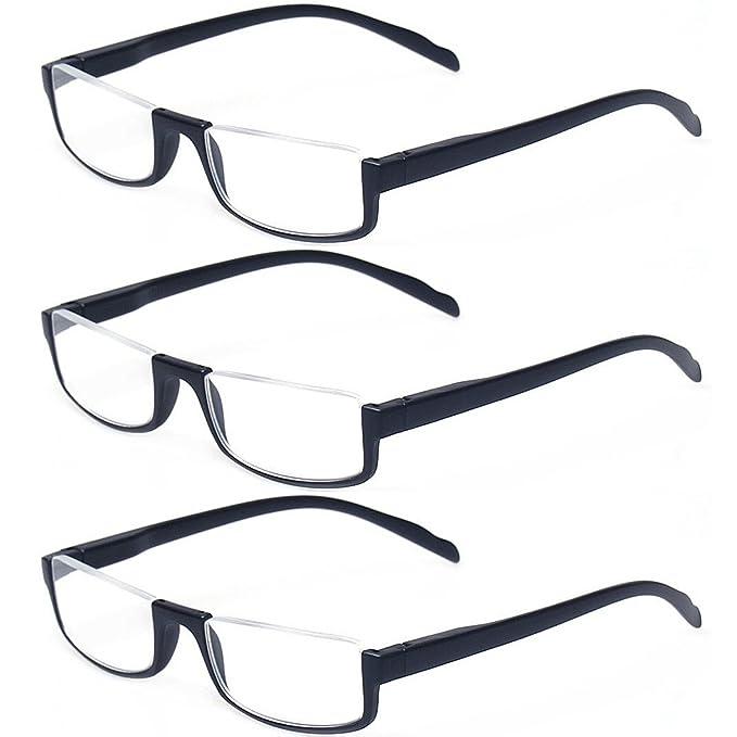 cc846488447 Kerecsen 3 Pair Half Frame Reading Glasses Lightweight Unisex Spring Hinge  Readers (3 Pack Black