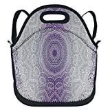 oFloral Grey Purple Ombre Mandala Holy Violet Handy Portable Zipper Lunch Box Lunch Tote Lunch Tote Bags 12 x 12 inch
