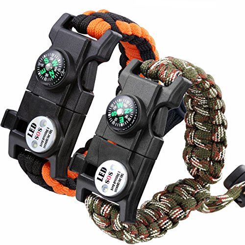 12' Compass Saw (Survival Paracord Bracelet Emergency Adjustable Tactical Bracelet Kit Outdoor Survival Waterproof Wristband with SOS LED Light – Set Of 2- Compass, Fire Starter, Emergency Knife, Whistle,Fire Starter)